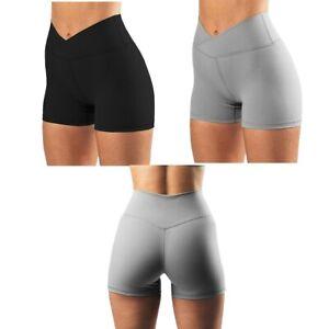 Women's High Waist Biker Shorts Cross Waist Yoga Shorts Sport Running Leggings