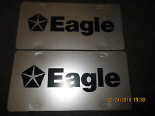 2 DODGE EAGLE advertising vinyl license plates MOPAR accessory silver/black NOS