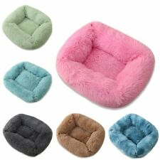 Pet Dog Cat Calming Bed Warm Soft Plush Square Nest Comfy Sleeping Kennel Cave