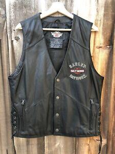 Harley Davidson Mens Black Leather Vest Embroidered Bar Shield Side Laces Medium