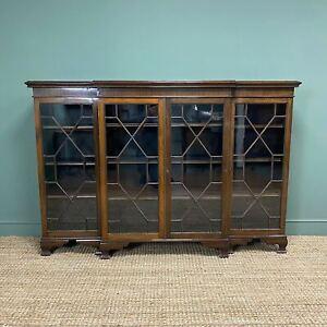 Edwardian Walnut Break Fronted Antique Bookcase