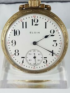 Elgin Natl pocket watch, railroad dial , working , Rare collector pocket watch !