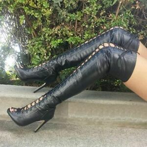 Women Ladies Lace Up Peep Toe Over Knee High Thigh Boots High Heel Stiletto Sexy