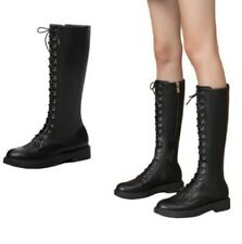 British Pattern Women Low Heel Casual Round Toe Zip Up Motor Mid Calf Boots D