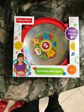 Fisher Price Mini Drum With Lights,Carrying Strap, Pair Of Drumsticks Age 2+