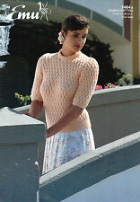 """~ Emu Knitting Pattern For Lady's Pretty Smocked Short Sleeved Top ~ 28"""" ~ 42"""" ~"""