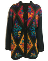 VTG 90s Kitsch Black Colourful Fugly Floral Geometric Cardigan Knit Jacket UK 14