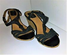 "Clark's black wedge sandals 2.75"" heel cork open toe sz 6M leather"