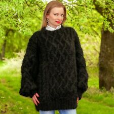Black mohair sweater Aran pullover designer hand knitted thick jumper SUPERTANYA