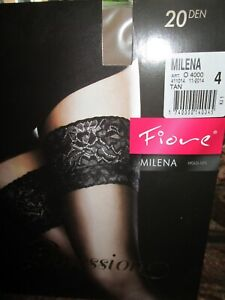FIORE MILENA LACE TOP HOLD UP STOCKINGS 3 SIZES FINE EUROPEAN HOSIERY TAN