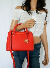Michael Kors Savannah Red Leather Handbag With Crossbody Strap