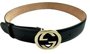 Womens GUCCI Signature Black Leather Belt Interlocking Gold G Buckle 370543