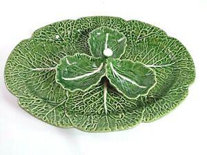 "BORDALLO PINHEIRO Green Cabbage Oval Platter & Condiment 17"" Portugal"