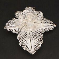 VTG Sterling Silver - Filigree Flower Floral Leaf Brooch Pin - 11g