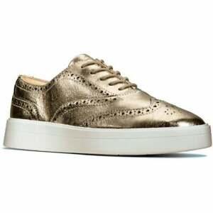 BNIB Clarks Ladies Hero Brogue Stone Metallic Leather Brogue Shoes