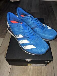 adidas Adizero Boston 8 M Size 12 Glow Blue White Running Shoes Sneakers EG7895
