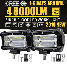 488W 5inch CREE LED Work Light Bar Spot Flood OffRoad Driving 4WD 4x4 Reverse 2X