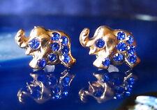 Pendientes Aros Elefante Dorado con Cristal Azul Oscuro