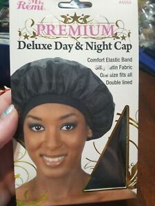 BRAND NEW ANNIE DELUXE DAY & NIGHT CAP #4553 BLACK SILKY SATIN FABRIC ONE SIZE
