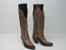 NEIMAN MARCUS MADE IN ITALY WESTERN BOOT TWO TONE LEATHER Sz WOMEN'S 7/38