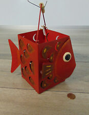 "NEW Pier 1 FISH LANTERN 8"" Hanging Red Tin Blow Fish Tealight Candle Holder NWT!"