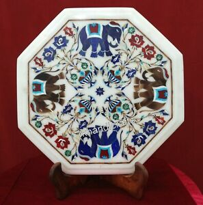 Pietra Dura Art Inlaid Handmade Side Table Top marble End Table Size 14 Inches