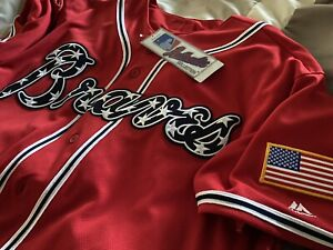 Brand New Authentic MLB 4th of July Atlanta Braves Jersey (Size 48)