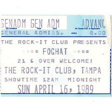 FOGHAT Concert Ticket Stub TAMPA FL 4/16/89 THE ROCK-IT CLUB FOOL FOR THE CITY
