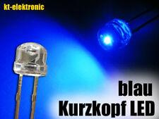 10 Stück LED 5mm straw hat blau, Kurzkopf, Flachkopf 110°