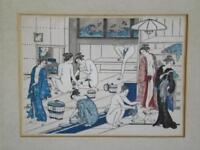 Ukiyoe Torii Kiyonaga Framed Wood Block Print Japanese Yudono Public Bath House