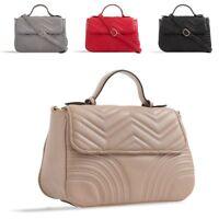 Ladies Stylish Quilted Handbag Faux Leather Satchel Shoulder Bag Grab Bag KT2381
