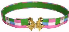 Vintage Mimi Di N c.1981 Gold Parrots Belt Buckle w/Madras Basket Weave Strap