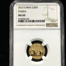 2013 $50 YUAN 1/10 OZ CHINESE .999 GOLD PANDA NGC MS 69 (029)