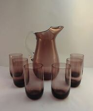 Vintage glass amethyst pinched glass cocktail pitcher/ decanter with 6 glasses