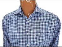 Peter Millar Mens Shirt Blue Plaid Long Sleeve Button Up Down Cotton Large