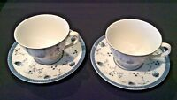 ROYAL DOULTON CAMBRIDGE VTG PAIR OF FOOTED CUP & SAUCER SETS BLUE & WHITE FLORAL