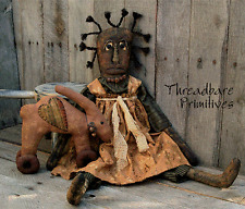 Pattern Primitive Folk Black Doll & Bunny Rabbit Heart Ornie Pull Toy Free Ship
