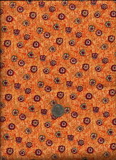 Geometric Floral Print red & teal on orange & cream scratch background Fabric