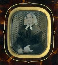 1850s French Ambrotype Portrait Elderly Woman, Faux Tortoiseshell Passe-partout
