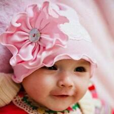 Bebé Infantil Gorro con flor Flor Blanco Encaje Algodón Rosa Rosa cottonwhool