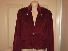 Bebe Stretch Military Style Jacket Blazer Soft Corduroy Dark Burgundy Sz 8 NWT