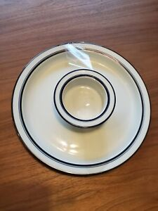 Vintage set Dansk Christianshavn Blue white stripe BISTRO Chip & Dip Plate Bowl