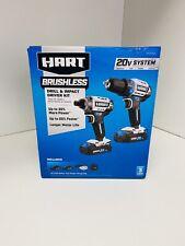 Hart HPCK202B 20V Cordless Brushless Drill & Impact Combo Kit W/ Batteries NEW !
