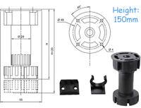 150MM Sockel Füße Beine Küche Tierkörper Basis Einheit Clip Verstellbar Schwarz