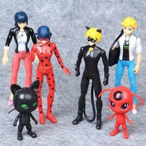 6Pcs/Set Ladybug And Cat Noir Juguetes Lady Bug Adrien Marinette Plagg Toy Doll
