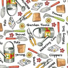 Gardening Items Tossed-White B/G-Quilting Treasures-BTY-Watering Can-Seeds-Pots