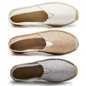 Espadrille Mens Shoes Straw Loafers Slip On Fisherman Canvas Driving Vogue Shoes