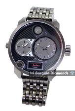 mens big 2 time zone gunmetal steel tone hip hop clubbing watch bracelet
