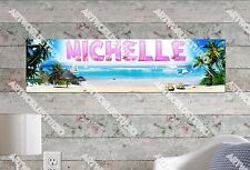 Personalized/Customized Beach Scene Name Poster Wall Art Decoration Banner