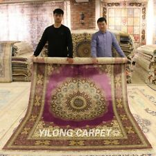 YILONG 6'x9' Purple Hand knotted Silk Classic Carpet Bedroom Medallion Rug Z113A